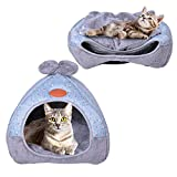 Urijk 2 en 1 Maison&Coussin Chat Igloo Chat Confortable Nid Chiot Ultra Doux Respirant Portable Panier Niche Caverne