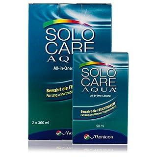 Solocare Aqua 2x360ml inkl. Reise-Set (90ml) – Kontaktlinsenflüssigkeit für Weiche Kontaktlinsen – Kombilösung für das Reinigen, Desinfizieren und Aufbewahren der Linse (All-In-One Lösung)