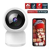 Caméra IP sans Fil,YUNNDOO WiFi Caméra de Surveillance 1080P PTZ Pan / Tilt / Zoom Night Vision Détection, Amazon Cloud Stockage,2 Voies Audio, Alerte de détection de Mouvement, Compatible Alexa