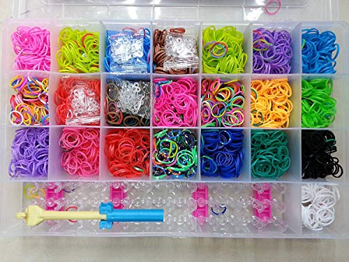 KRAFTMASTERS Rainbow Color DIY Loom Band Kit with 4200 Colourful Rubber Bands