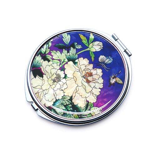 incrustation en nacre bleu Pivoine Fleur Comestic Unique Poche Maquillage Compact Miroir double