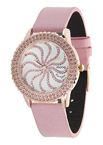 Moog Paris Vertigo Women's Watch with White Dial, Pale Pink Genuine Leather Strap & Swarovski Elements - M44962-003