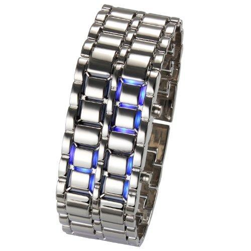 Hangqiao Vogue LED Volcanic Lava Faceless Metallic Bracelet Unisex Wrist Watch,Cool&New (Silver Bracelet Blue Led) -