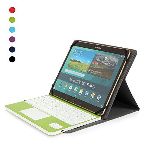 CoastaCloud kompatibel mit Tablet Galaxy Tabs mit Bluethooth Tastatur QWERTZ Deutsch mit Touchpad u. Hülle für Windows/Android mit 9-10.6 Zoll (Min 15x24cm, Max18x26cm) Grün
