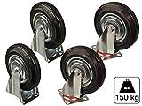 4 teiliges Set 2x Lenkrolle 2x Bockrolle aus Vollgummi 200 mm Durchmesser