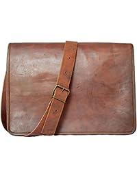 CraftWorld 15'' INCHES 100% Genuine Leather Messenger Bag Laptop Bag Office Bag Sling Bag Dark Tan Bag - Full...