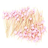 sevenmye 100 Stück Holz Cocktail Picks, Holz Bambus Zahnstocher Gabeln Sticks für Obst BBQ Cupcake Hochzeit Party Decor Supplies rose