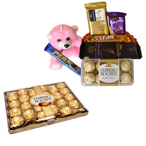 Rich Chocolate Basket With 24 Pcs Ferrero Rocher