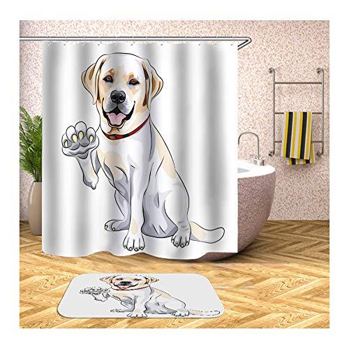 Bishilin Badematte Set 2 Teilig, Labrador Retriever Badezimmer Fußmatten 40x60 Polyester-Stoff 3D Vintage Duschvorhang 150x180 (Labrador-retriever-badezimmer Sets)