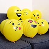 #4: HKBalloons Emoji Expressions Birthday Balloons For Decoration (Pack of 10) - Yellow