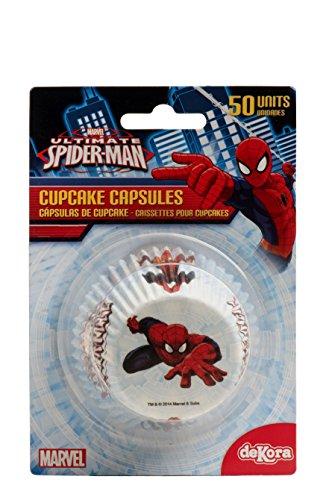 Spiderman 339008Pack 50Muffinförmchen Cupcakes Papier weiß 5x 5x 3cm