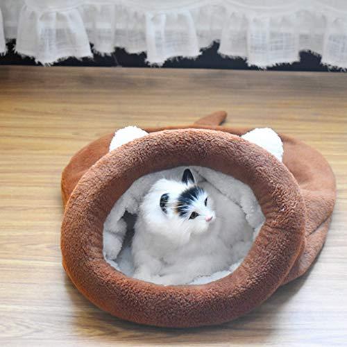 LnLyin Collapsible Portable Cat Kennel Warmes weiches Tunnel-Katzenschlafsack Comfort Soft Schlafsack, Braun, M