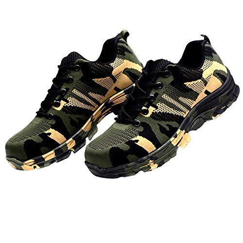 eujiancai Camouflage Work Safety Shoes Steel Toe Breathable Mesh Boot Puncture Proof Labor Insurance Shoes (Green) -