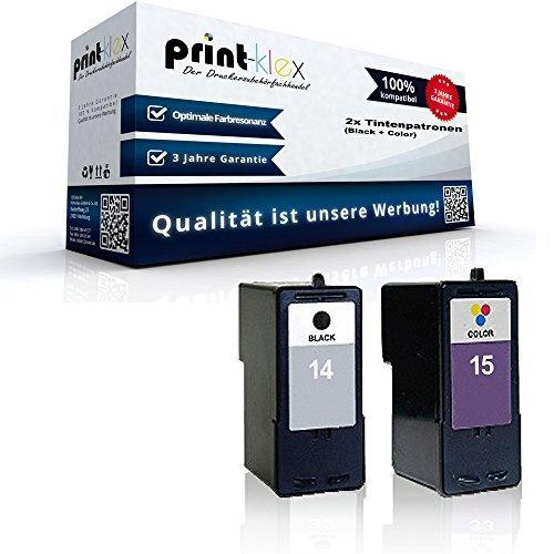 2x kompatible Tintenpatronen für Lexmark 14 15 X 2600 X 2620 X 2630 X 2650 X 2670 Z 2300 Z 2310 Z 2320 Sparset (Alle Farben) 18C2090 + 18C2110 Schwarz - Lexmark Kit Tinte