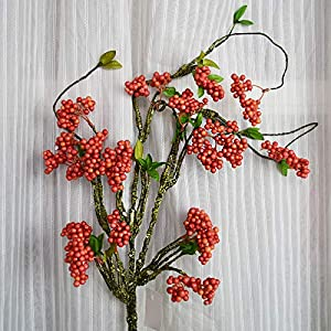 yueyue947 Flores Artificiales Frijoles de Acacia Flores Artificiales Decoraciones de la Sala Flores Falsas Frijoles Rojos Accesorios de Frutas ricas Adornos Blancos