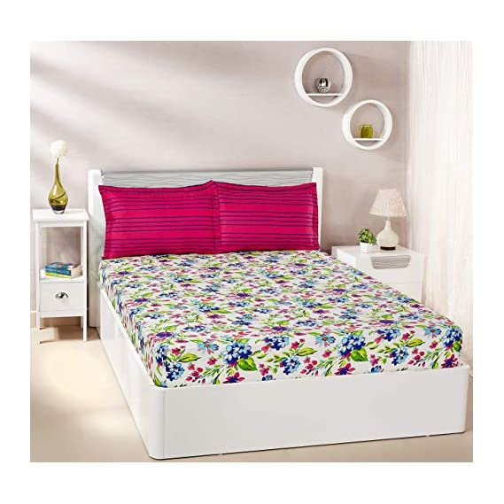 Amazon Brand - Solimo Floral Spurt 144 TC 100% Cotton Double Bedsheet with 2 Pillow Covers, Purple