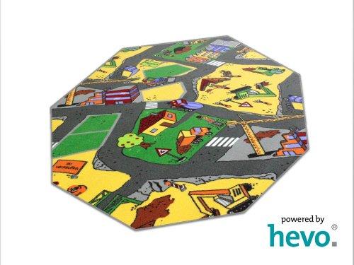 HEVO Baustelle gelb Teppich | Spielteppich | Kinderteppich 200 cm Achteck Oeko-Tex 100