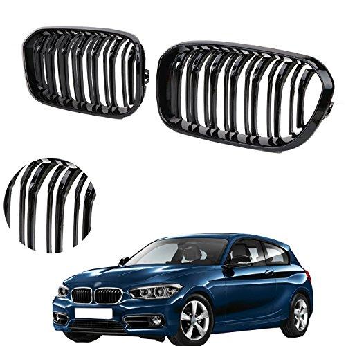 Preisvergleich Produktbild WANOOS Schwarz Glänzend Grill Vorne Doppelsteg Gitter Nieren Grill für BMW F20 LCI 118i 120i 2015-2017