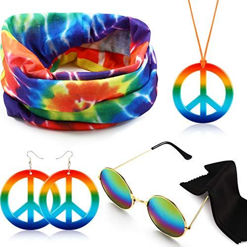 Hippie Kostüm Set Hippie Dressing Zubehör Kit Enthält Hippie Sonnenbrille, Stirnband, Frieden Zeichen Halskette und Ohrringe