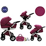 Quero, 3-in-1 Travel System with Baby Pram, Car Seat, Pushchair & Accessories. Linen Edition 2017 … (Linen Material No…