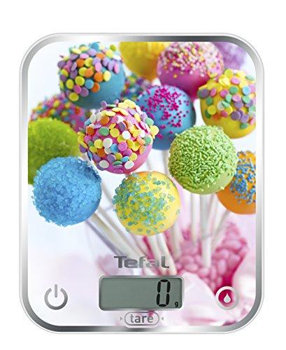 Tefal Optiss Cake Pops BC5121 Báscula de Cocina, extraplana, función Tara, Vidrio Templado y Pilas Incluidas