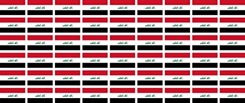 Mini Aufkleber Set - Pack glatt - 20x12mm - Sticker - Fahne - Irak - Flagge - Banner - Standarte fürs Auto, Büro, zu Hause und die Schule - 54 Stück
