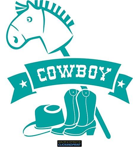 CLICKANDPRINT Aufkleber » Bannerschriftzug: Cowboy - Pferd, Hut & Stiefel, 30x27,4cm, Türkis • Wandtattoo / Wandaufkleber / Wandsticker / Wanddeko / Vinyl