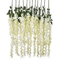 Luyue Pianta artificiale di glicine rampicante, da appendere, per feste di nozze in casa, decorazione con fiori di seta, 1,4m, confezione da 6 White
