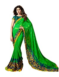 Craftsvilla Women's Georgette Printed Designer Green Saree With Blouse Piece