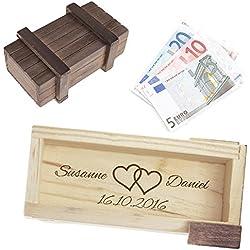 Magische Geschenkbox zur Hochzeit - personalisiert mit Namen und Gravur - Trickkiste für Geldgeschenke - Knobelspiel - Verpackung für Hochzeitsgeschenke - Motiv Herzen - 10,5 cm x 6,5 cm x 4 cm