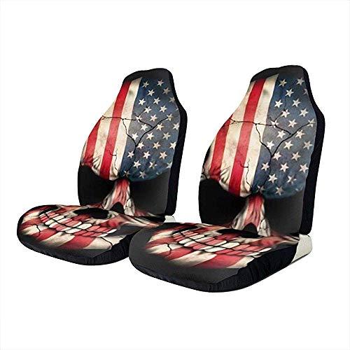 Car Seat Covers Coprisedili Auto Vintage con Teschio di Bandiera Americana - Coprisedili per Tappetini Protettivi per Sedili di Veicoli - Misura Universale per La Maggior Parte dei Coprisedili P
