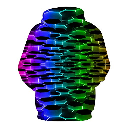 zlhcich Herren Hoodie Kreative Casual 3D Geometric Print Schwindlig Langarm Kapuzenpullover Jacke -