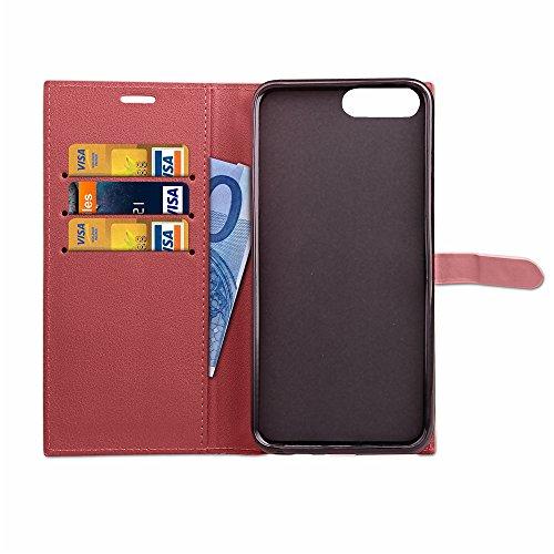 Apple iPhone 7 Plus 5.5 hülle, Voguecase Kunstleder Tasche PU Schutzhülle Tasche Leder Brieftasche Hülle Case Cover (Retro-Geschäft - Braun) + Gratis Universal Eingabestift Feinschnalle - Rot