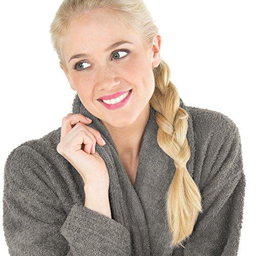 Uniwalk-Frottee Bademantel mit Schalkragen aus 100% Baumwolle, für Damen u. Herren, Morgenmantel CelinaTex Oregon Dunkelgrau