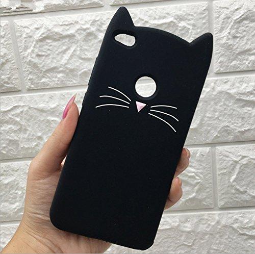 cytt Xiaomi A1(5x) Fall + Katzen Lanyard, MC Fashion Cute 3D Schwarz Meow Party Katze Kitty Schnurrhaare Weich Silikon Fall für Xiaomi A1(5x), Schwarz