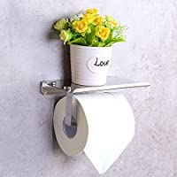 Candora® Toilet Paper Holder Wall Mounted Bathroom Toilet Paper Holder Rack Tissue Roll Stand Stainless Steel with Moblie Phone Holder Stand