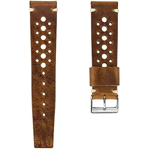 Cinturino orologio Geckota® Vera pelle Perforato Marrone chiaro, Spazzolato, (Rolex In Acciaio Inossidabile Oyster)