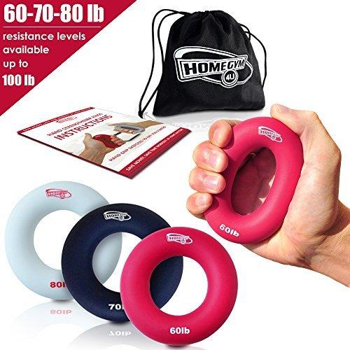 3 in 1 Handmuskeltrainer & Fingertrainer - Handtrainer Ring & Unterarm Trainingsgerät aus Silikon für bessere Fingerkraft, Handkraft & Griffkraft - Unterarmtrainer & Anti Stress Ring (27-36 kg)