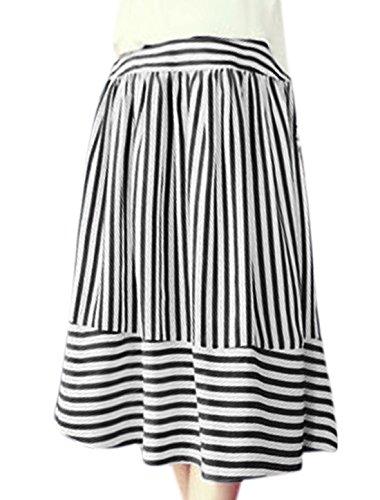 X-Small , Black : Generic Women Elastic High Waist Stripes Midi A Line Skirt