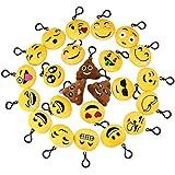 Naisidier 24 Pcs Mini Emoción Llavero Felpa Peluche Llavero Emoji de Cara Redonda Perfecto para Decoración de Bolsos Mochilas Colgante de Decoración para Coche
