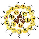 Isuper Set di Ciondoli di Emoji Peluche Portachiavi Peluche Emoji per Zaino e Decorazione 24 Pezzi
