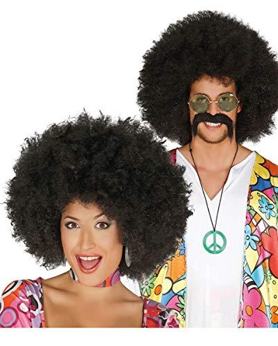 Horror-Shop Afro Perücke schwarz für Hippie Motto Party & Fasching