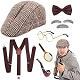 SPECOOL Sherlock Holmes Accessorio Vestito Set Old Man Disguise Cosplay Costume Kit Pipa Fumatori Cappello Cacciatore…