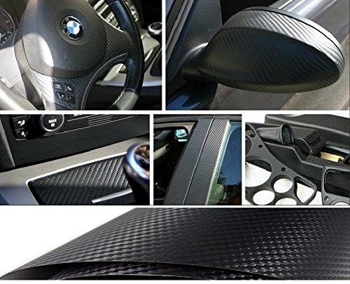 takestop - Película de carbono adhesiva en 3D, 200 x 75 cm, antiarañazos, para coche y moto, color negro