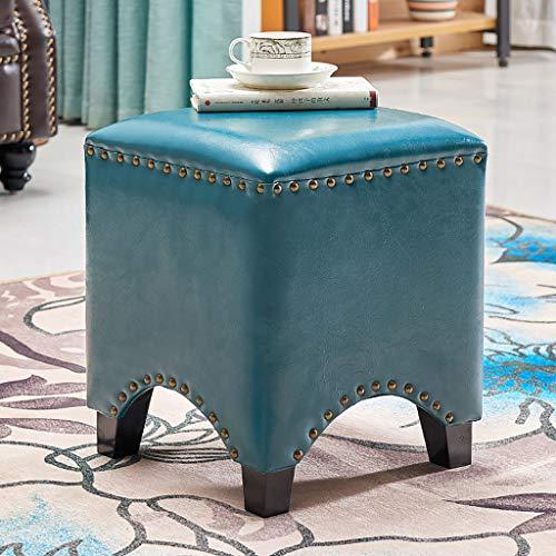 Lwsofa stool Niedriger Hocker Holz Seating Hocker Fußstütze Ottoman Square Chair Fußhocker mit Faux Luxury Oil Wax Leder Abdeckung, handgefertigte Nieten Randabdichtung (Farbe : A5)