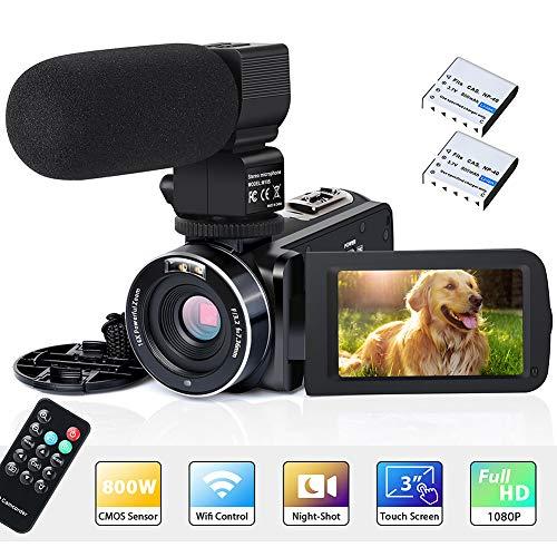 """Videokamera Camcorder WiFi IR Nachtsicht FHD 1080P 30FPS 26MP YouTube Vlogging Kamera Recorder 3\""""Touchscreen 16X Digitalzoom Digitalkamera mit Mikrofon, Fernbedienung, 2 Batterien"""