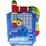 Hamsterkäfig - Nagerkäfig 40 x 33 x 26 cm -- 2 stöckig -- mit vieler Extras !!! in blau