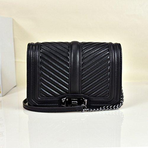 GSHGA Neue Echtleder Handtaschen V Grid Kette Tasche Damen Umhängetasche Totes Cross-Body Taschen Rindleder,Black2 Black2