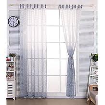 woltu vh5855bl1 gardinen transparent mit schlaufen in leinen optik mit gestreift farbverlauf muster - Vorhang Schlafzimmer Blau