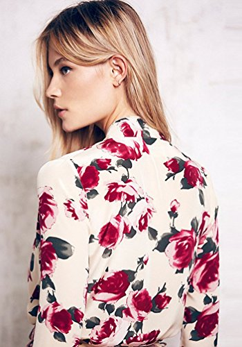NiSeng Femmes Floral Imprimer Manches Longues Col V Combinaisons Short Jumpsuit de Plage Pantalons Courts Floral